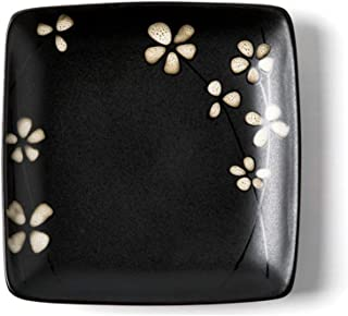 Nwn 2 Creative Japanese Ceramic Plates Home Plate Snack Tray Square Western Tableware Plate Steak Plate (Color : E, Size : M)