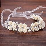 Simsly Diadema de novia con flores para el pelo de la novia para el pelo de la vid de la novia, corona floral, accesorios para el pelo para mujeres y niñas