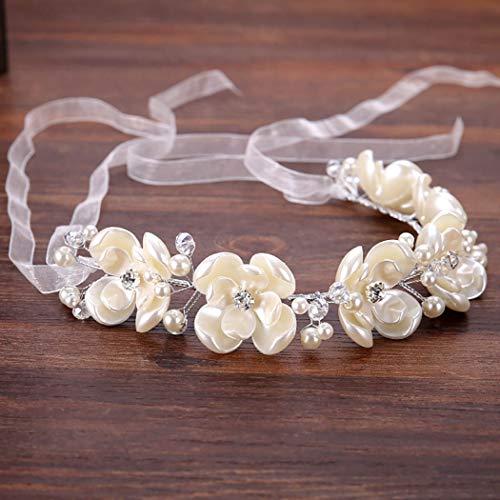 Simsly Braut Blume Stirnband Hochzeit Haar Rebe Braut Kopfschmuck Blumenkranz Krone Floral Haarschmuck für Frauen und Mädchen