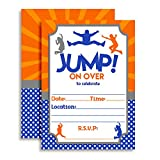 Jump Zone Bounce and Play Trampoline Park Jumping Birthday Party Invitations, 20 5'x7' Fill In Cards with Twenty White Envelopes by AmandaCreation