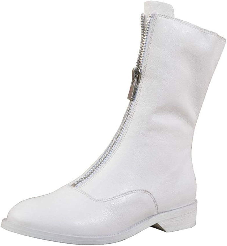 YAN Damenmode Stiefel Leder Winter Stiefeletten Rutschfeste Gummisohle Outdoor Wanderschuhe formelle Schuhe