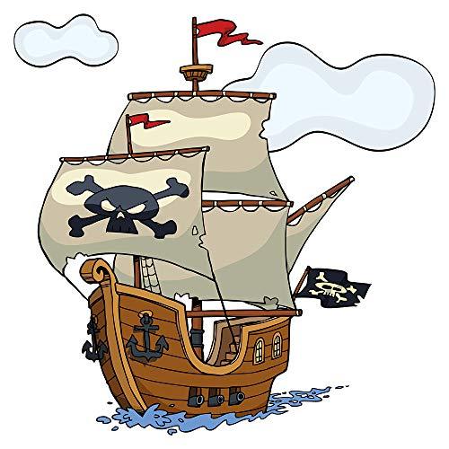 Wandtattoo Kinderzimmer Wandsticker Piratenschiff mit Totenkopf Segeln und Fahn