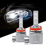 HOLOON H11 Led Headlight Bulb, 12000LM Lumileds Chips Extremely Bright H8 H9 Car Led Headlight Bulbs All-in-One Conversion Kit, Halogen/HID Bulbs Replacement - 6000K Cool White Light