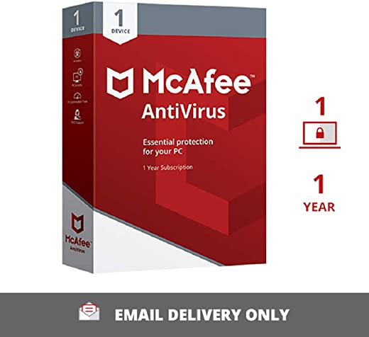 McAfee Anti-Virus - 1 PC, 1 Year (Email Delivery in 2 hours- No CD) 1