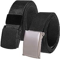 2 Piezas Cinturón Táctico Militar Ajustable Cintura Hombres Lona Nylon Hebilla Plástica