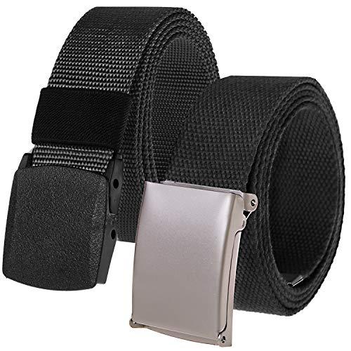 Chalier 2 Pack Cinturon Hombre Lona de Nylon Tela Infinitamente Ajustable, Longitud 130 cm, con Hebilla Automática