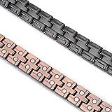 YINOX Pulsera magnética de cobre para hombres Gunmetal con 36 imanes fuertes ajustables 21 cm / 12,5 mm