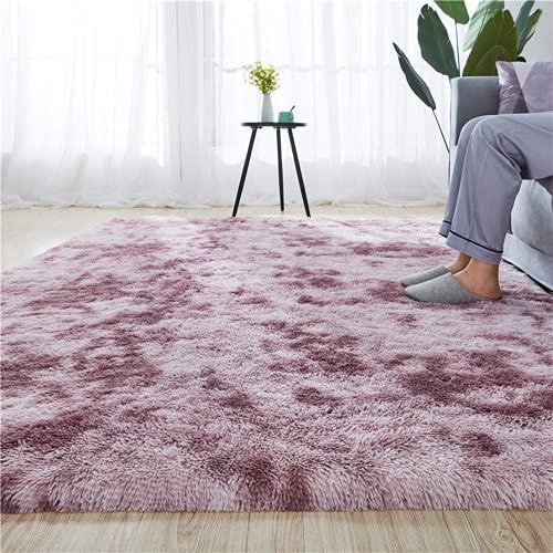 Aujelly Alfombra de lujo Shaggy Soft Area Square Faux Fur Indoor mullido alfombra antideslizante moderna decoración del salón dormitorio habitación infantil salón rosa 150 x 240 cm