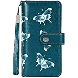 TEUEN Ladies Leather Purse Large Capacity Womens Wallets RFID Blocking with Wrist Strap 26 Card Slots, Ladies Purse Wallet with Zip Pocket Coins Compartment Leather Purses for Women (Butterfly Blue)