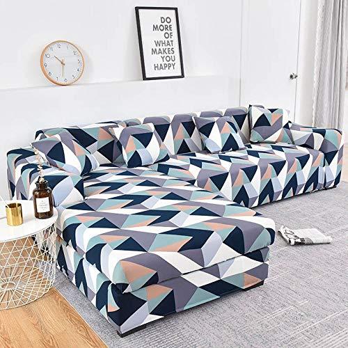MKQB Funda de sofá geométrica, Funda de sofá telescópica elástica en Forma de L para la Esquina de la Sala de Estar, Funda de sofá para Muebles de protección para Mascotas n. ° 7 XL (235-300cm)