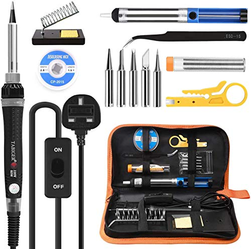 Soldering Iron Kit, Tabiger 60W Welding Tools with Adjustable Temp 200-450°C and ON Off Switch, 5 Soldering Tips, Desoldering Pump, Solder Wire, Wire Stripper Cutter, Stand, Tool Case