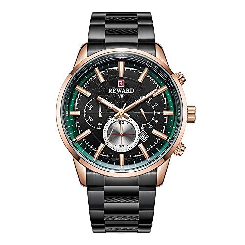 ZHUANYIYI Calendario Informal De Negocios para Hombres 30M Reloj De Cuarzo Impermeable Reloj Deportivo De Moda De Acero Inoxidable