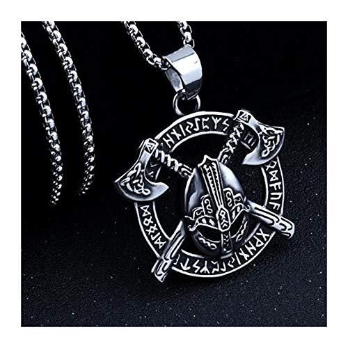 ZZYLHS Collar de Cadena de Acero Inoxidable de Viking Hacha Guerrero Colgante for Regalo Muchacho de los Hombres Hombre Collares Accesorios (Color : A)