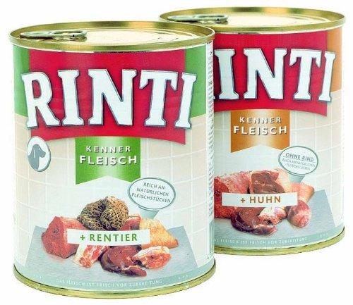 Rinti Pur Kennerfleisch Rentier für Hunde, 12er Pack (12 x 800 g)
