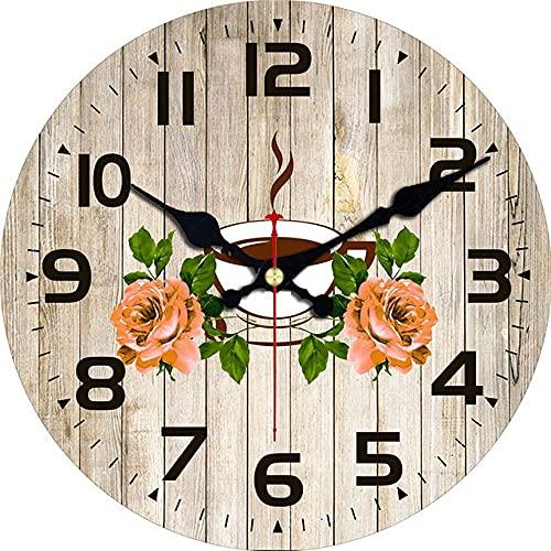 Decoración grande reloj de pared París Torre de madera Cartón de madera Reloj de pared, silencioso y sin ticipo, estilo antiguo para la oficina de cocina en casa fácil de leer para la decoración de la