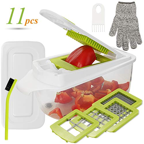 Aieruma Vegetable Chopper 11 in 1 Pro Onion Chopper Food Cutter Stainless Steel Blades  ABS plastic BPA free Heavier Duty Multi VegetableFruitCheeseOnion ChopperDicerKitchen Cuttert