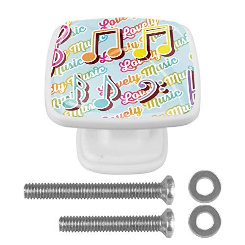 Juego de 4 pomos de armario de cocina de 3,18 cm, pomos de cristal para cajones con kit de herramientas para armarios de muebles de dormitorio, llaves de violín y notas musicales.