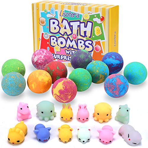 Bath Bombs for Kids with Toys Inside - Lisotera XXL Large Size 12 Gift Set for Girls Boys Women Kids Safe Bubble Bath Fizzies Spa Fizz Balls Kit