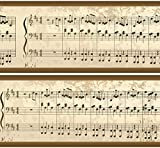 Selbstklebende Bordüre Notenblatt, 4-teilig 560x15cm, Tapetenbordüre, Wandbordüre, Borte, Wanddeko,Musik, Melodie