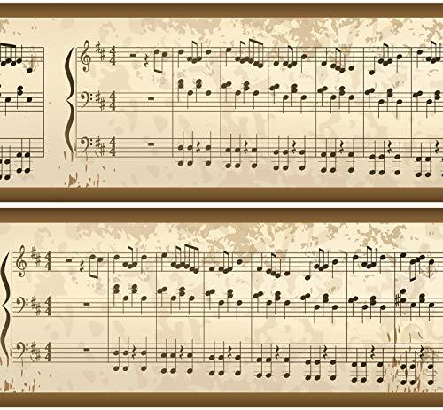 Selbstklebende Bordüre 'Notenblatt', 4-teilig 560x15cm, Tapetenbordüre, Wandbordüre, Borte, Wanddeko,Musik, Melodie