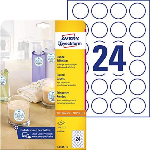 AVERY Zweckform Runde Etiketten L3415-10 (240 Aufkleber auf 10 Blatt, zum Bedrucken, selbstklebend, Ø 40 mm, A4, Klebepunkte zum Kennzeichnen von Unterlagen, Produkten) weiß