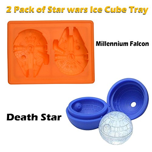 Millennium Falcon and Death Star Silicone Ice Tray Star Wars Candy Mold Set/Chocolate Molds Ball Whiskey Baking for Christmas Birthday Lovers Party