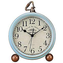 xihaiying 5.5 inch Vintage Retro Decorative Desk Alarm Clocks,Non-Ticking Easy to Read Large Display Mantel Clock (Blue)