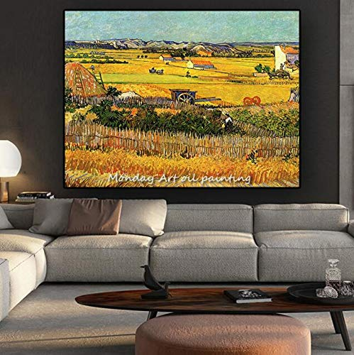 GUOYHDM Top Handgemachte Wheatfield Mit Zypressen Von Van Gogh Malerei Auf Der Wand Impressionist Landschaft Bild Wandkunst Leinwand Malerei 50X75 cm 02