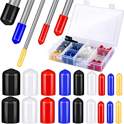 300 Pieces Rubber Flexible End Caps Thread Protector Safety Cover 9 Sizes Bolt Screw Caps Form 0.08 to 0.8 Inch and 1 Storage Box for Furniture Foot Pipe Tube, 5 Colors