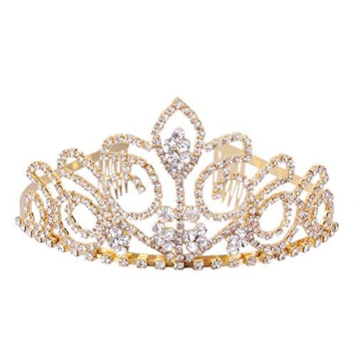 rosenice boda novia Corona Tiara vivos, cristal brillantes Diadem pelo maduro (Oro)
