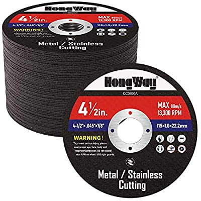 HongWay 50 Pack Cut-Off Wheels, 4-1/2 x 7/8-inch Metal&Stainless Steel Cutting Wheel, Thin Metal Cutting Disc for Angle Grinder