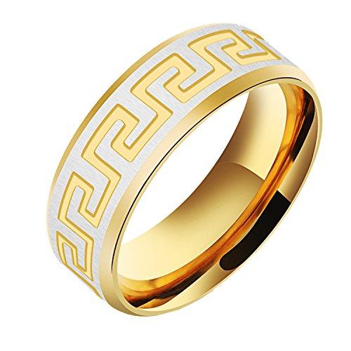 PAURO Herren Edelstahl Schwarz und Gold Great Wall Pattern Vintage Ring (Gold(Edelstahl), 68 (21.6))