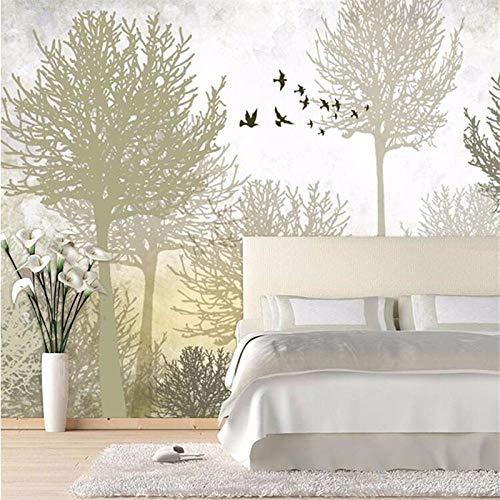 Wxlsl 3D Benutzerdefinierte Hochwertige Seide Stofftapete Wohnzimmer Schlafzimmer Schlafsofa Fernsehwand Retro Einfachen Wald Hintergrund-250Cmx175Cm