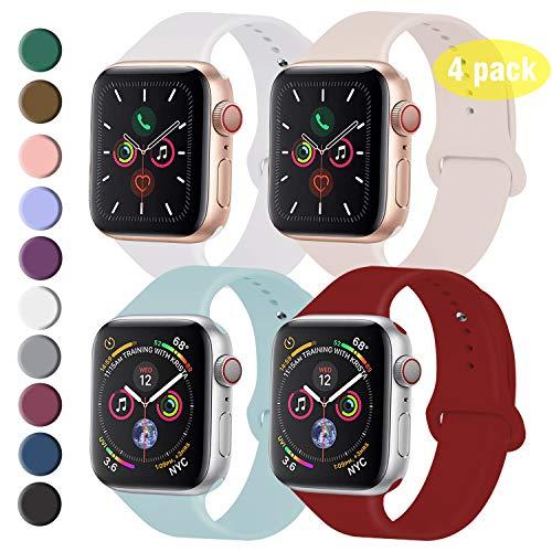 Qunbor Armband Kompatibel Für Apple Watch 38mm 40mm 42mm 44mm, 4er-Set, Ersatz für Weiches Silikon Armband Für die iWatch-Serie 5/4/3/2/1