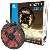 Rollo de 5 metros de Tira de Luz LED Directa a 220v. Color Blanco Frio (6500K). Impermeable. Corte cada 10cm. A++