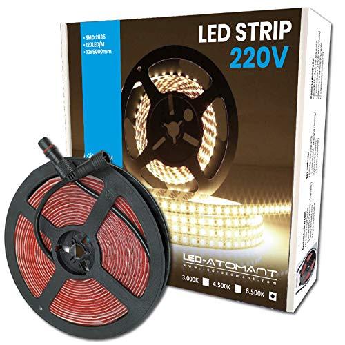 Rollo de 5 metros de Tira de Luz LED Directa a 220v. Color Blanco Frio (6500K). Impermeable. Corte cada 10cm.