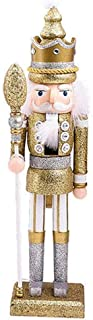 Sq Nutcracker Wooden Figure Soldier, 42 cm Nutcracker Wood Decorative, Traditional Doll Figure Classic Wooden for Christmas, Nutcracker Christmas Decoration,Gold