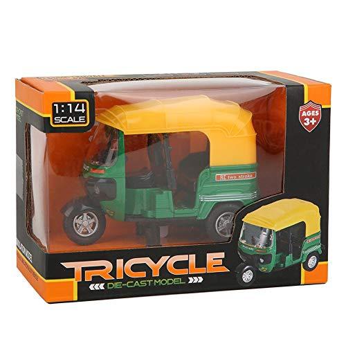 Triciclo a escala 1:14 modelo de motocicleta de juguete para niños mini triciclo indio retráctil colección de niños juguete para automóvil con luz y regalo de música para niños(verde)
