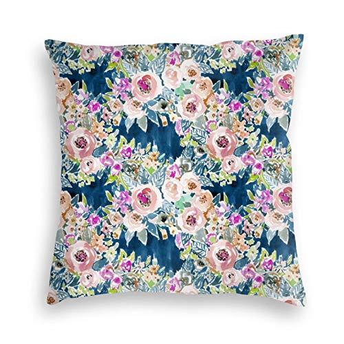 Funda de almohada, azul marino, tan lujoso, colorido, acuarela, floral, decorativa, cuadrada, funda de cojín, 45,7 x 45,7 cm, para sofá, dormitorio, sala de estar