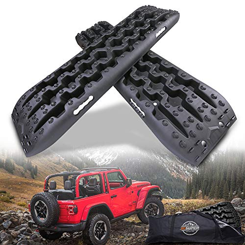 ZESUPER New Recovery Traction Tracks Escape Buddy Traction Mats for Off-Road Mud, Sand, Snow (Pack of 2) (Black)