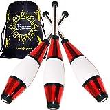 Juggle Dream Euro Pro Malabares Clubs Juego de 3 (¡12 Combinaciones de Colores!) ¡Clubes de Entrenamiento Decorativos metálicos + Bolsa de Viaje Flames N Games! (Rojo)
