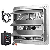 iPower 12 Inch Variable Shutter Exhaust Fan Aluminum with Speed Controller and Power Cord Kit, 1620RPM, 1600 CFM, Silver