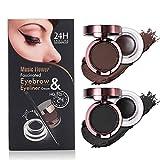 4 in 1 Gel Eyeliner and Eyebrow Powder Kit Brown Black Water-proof with Eye Liner Brush