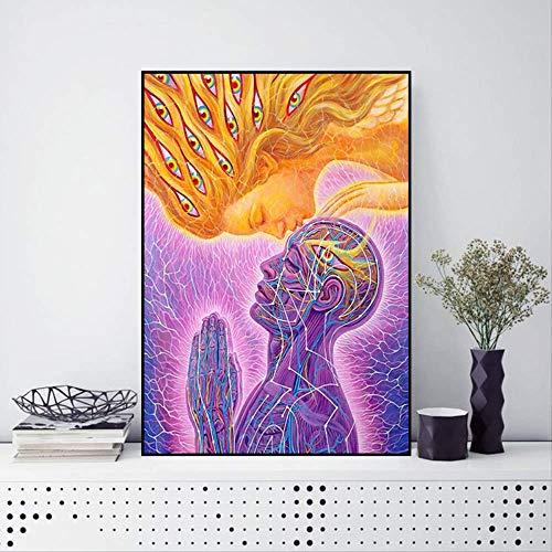 LWJZQT Leinwanddrucke Bunte Menschliche Kuss Abstrakte Kunst Kreative Wunderschöne Leinwand Malerei Poster Wandbilder Für Wohnzimmer Schlafzimmer Wohnkultur 60×80cm