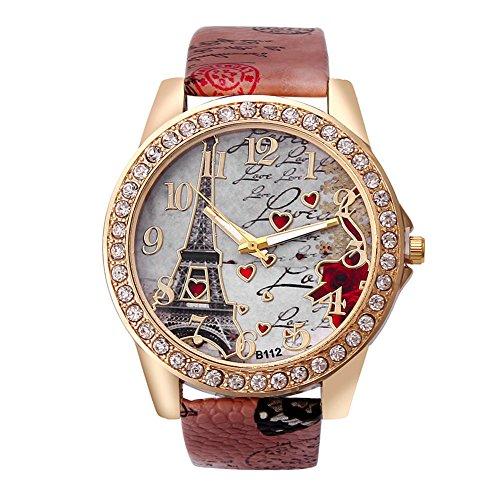 Demarkt–Torre Eiffel Rhinestone Reloj de Pulsera Quartz Analógico para Mujer, Chica Torre Eiffel Piel Reloj de Pulsera Analog Quartz Reloj De Pulsera
