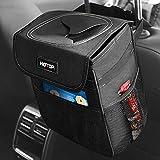 HOTOR Car Trash Can with Lid and Storage Pockets, 100% Leak-Proof Car Organizer, Waterproof Car Garbage Can, Multipurpose Trash Bin for Car - Black