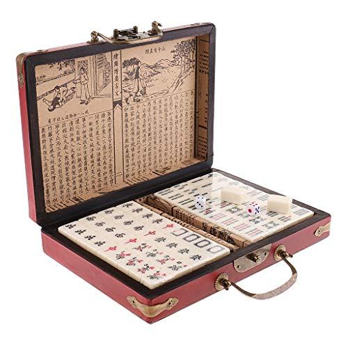 HNKPWY Chinesisches antikes Mahjong-Brettspiel 144 Mahjong in 23x16,2x4,5 cm Holzkiste für Picknickcamping Familienspaßspiele