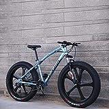 LJLYL Bicicleta de Montaña para Adultos Bicicleta de Cruiser con Alto Marco de Acero al Carbono Freno de Doble Disco y Horquilla Frontal, color azul, tamaño 26 inch 27 speed