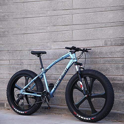 LJLYL Mountainbike-Fahrrad für Erwachsene, Cruiser-Bike mit hohem Kohlenstoffstahlrahmen, Doppelscheibenbremse und vordere Vollfedergabel,Blau,26 inch 27 Speed