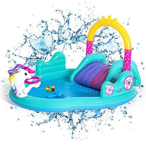Inflable Natación del Bebé Piscina para Niños con Tobogán Y Agua Rociador - Ideal para Jardín Al Aire Libre Diversión para Niños De Los Niños 274x198x137cm